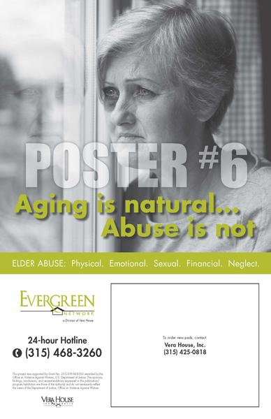 Evergreen Network Poster #6, This poster includes tear-off sheets with local resources that can be discreetly taken if assistance is needed.