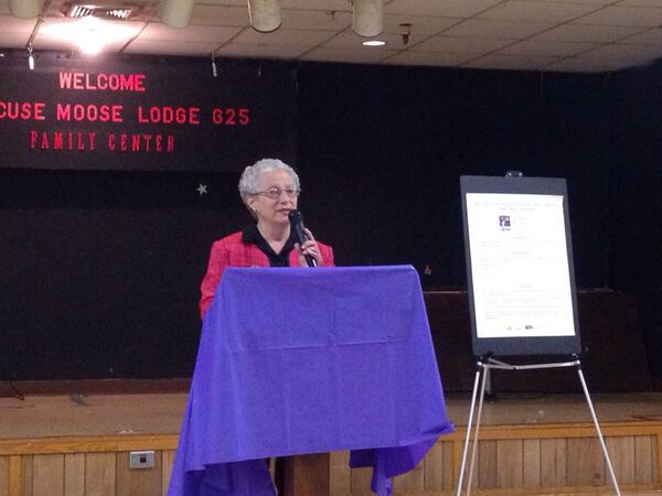 photo 7, Elder Abuse survivor, Perri Bergen, speaking about her experience.